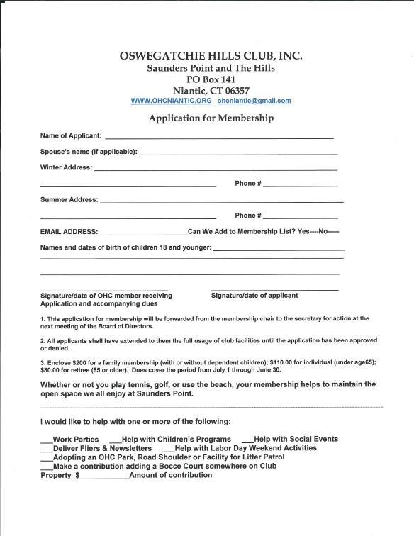Membership Application 2016